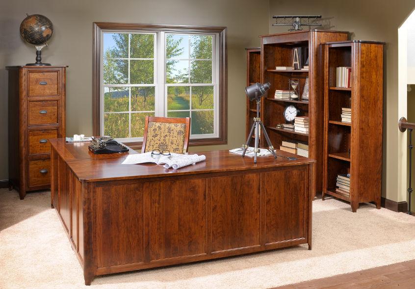 Wood Office Desk Bookcase Filing Cabinet